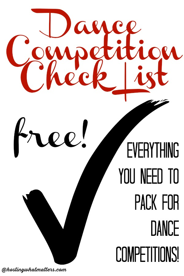 DANCE COMPETITION CHECK LIST